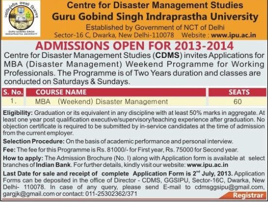 MBA in Disaster Management (Guru Gobind Singh Indraprastha University GGSIP)