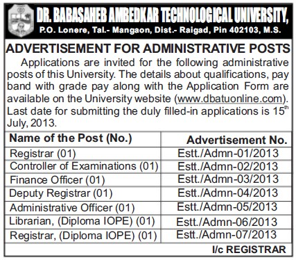 CoE and Registrar (Dr Babasaheb Ambedkar Technological University, Lonere)
