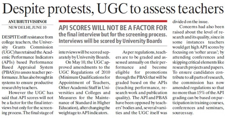 Despite protests, UGC to assess teachers (University Grants Commission (UGC))