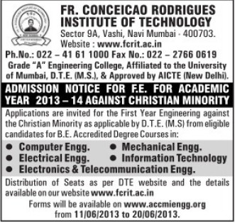 BTech in ME and IT (Fr Conceicao Rodrigues Institute of Technology)