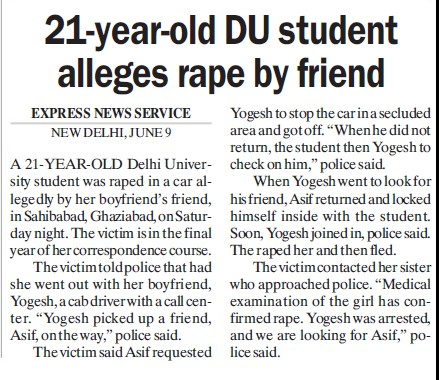 21 years old DU student alleges rape by friend (Delhi University)