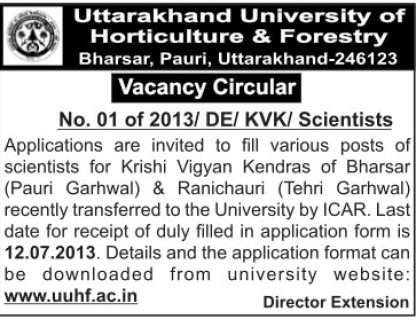 Scientists (Uttarakhand University of Horticulture and Forestry UUHF)