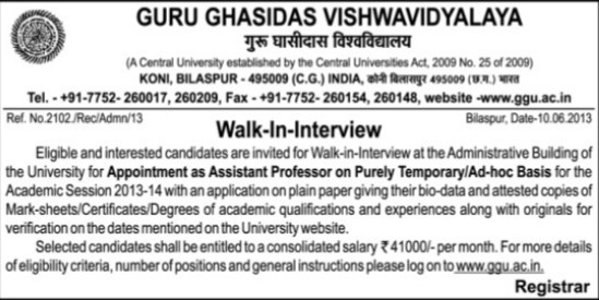 Asstt Professor on adhoc basis (Guru Ghasidas University)