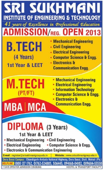 BTech and MTech courses (Sri Sukhmani Institute of Engineering and Technology)