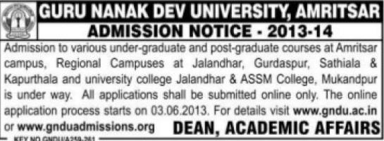 Post Graduate degree courses (Guru Nanak Dev University (GNDU))