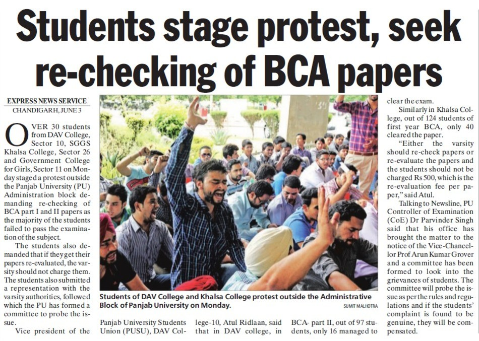 Students stage protest, seek re checking of BCA papers (DAV College Sector 10)