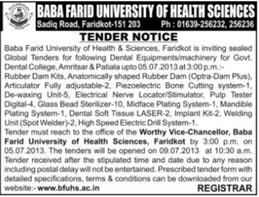 Dental Equipmenrs (Baba Farid University of Health Sciences (BFUHS))