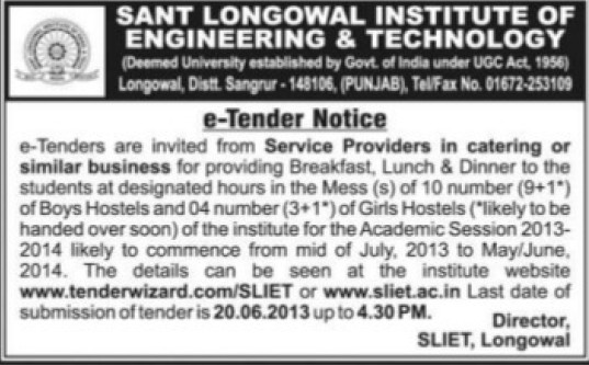 Service providers in catering (Sant Longowal Institute of Engineering and Technology SLIET)