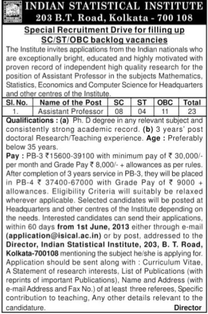 Asstt Professor (Indian Statistical Institute)