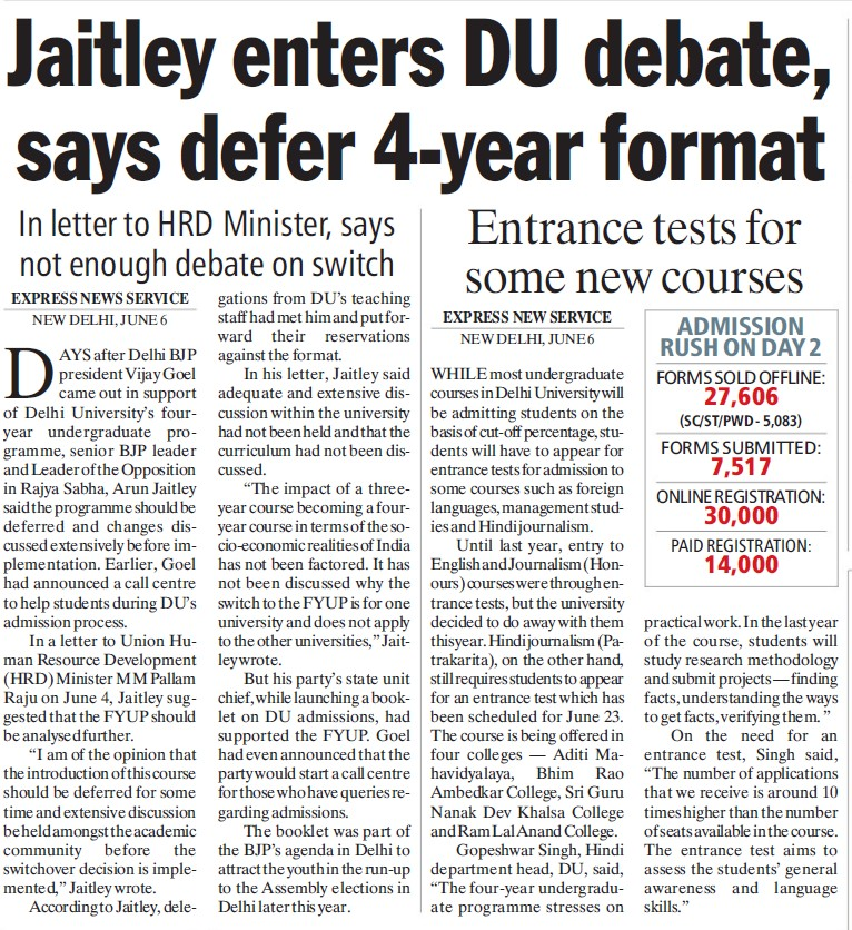 Jaitley enters DU debate, says defer 4 year format (Delhi University)