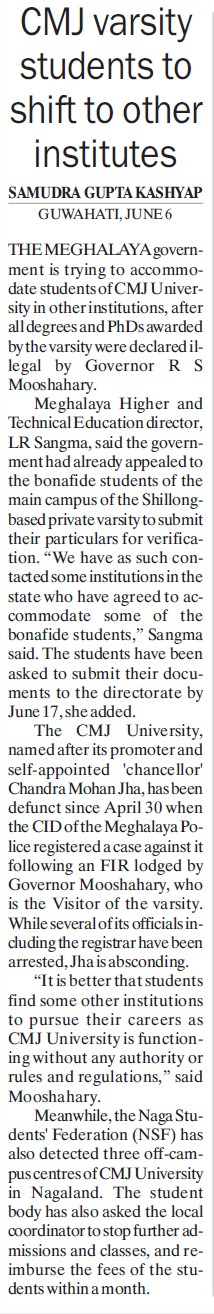 CMJ students to shift to others institutes (Chander Mohan Jha (CMJ) University)