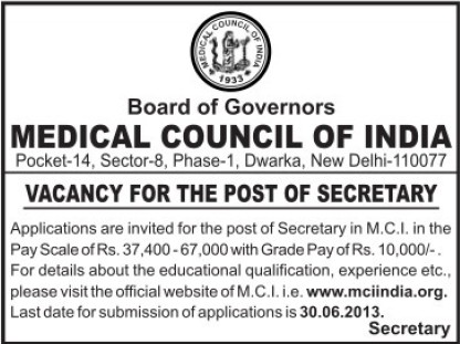Secretary (Medical Council of India (MCI))