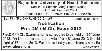 DM Exam 2013 (Rajasthan University of Health Sciences (RUHS))
