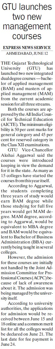GTU launches two new management courses (Gujarat Technological University)