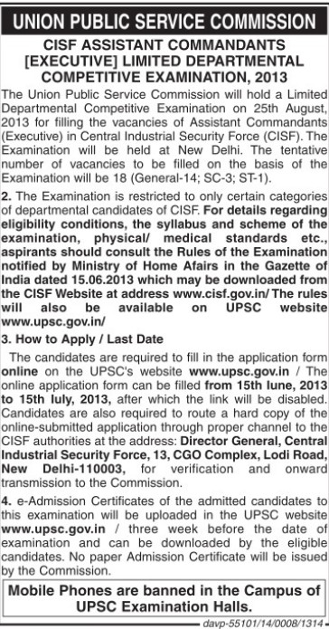 CISF Asstt Commandants Competitive Examination 2013 (Union Public Service Commission (UPSC))