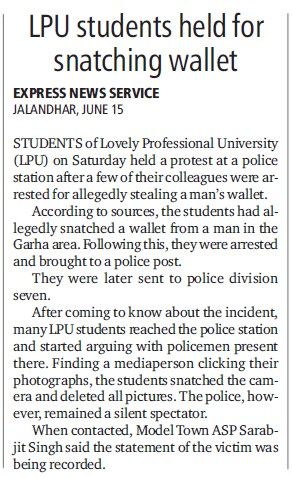 LPU students held for snatching wallet (Lovely Professional University LPU)