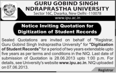 Digitization of Student records (Guru Gobind Singh Indraprastha University GGSIP)