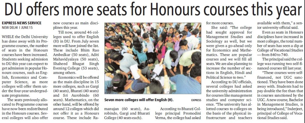 DU offers more seats for honours courses this year (Delhi University)