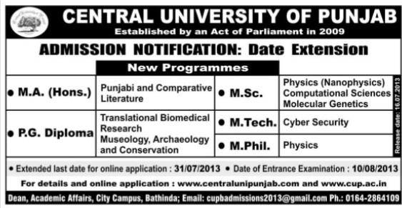 MSc and MTech courses (Central University of Punjab)