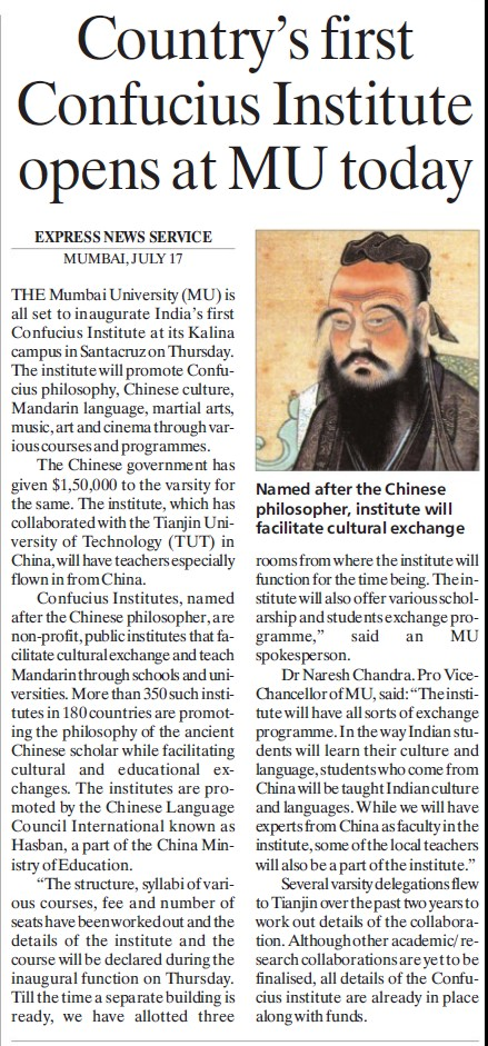 Country 1st confucis institute opens at MU (University of Mumbai)