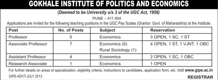 Research Asso (Gokhale Institute of Politics and Economics GIPE)