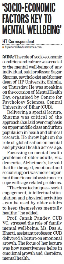 Socio Economic factors key to mental wellbeing (Himachal Pradesh University)