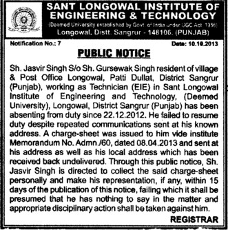 Jasvir Singh Technician absent (Sant Longowal Institute of Engineering and Technology SLIET)