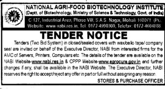 Supply of computers and Printers (National Agri Food Bio Technology Institute (NABI))