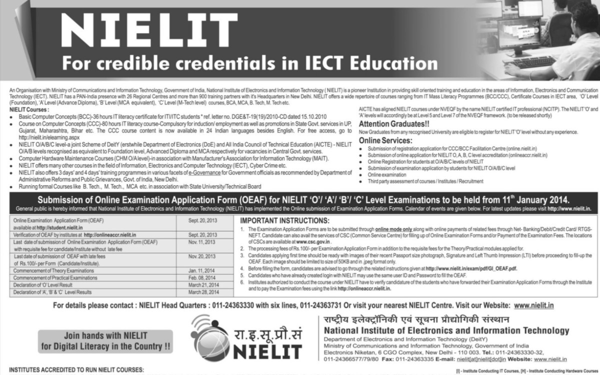 BCA and M Tech courses (National Institute of Electronics and Information Technology (NIELIT))