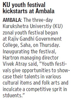 KU Youth Fest kickstarts at Ambala (Kurukshetra University)