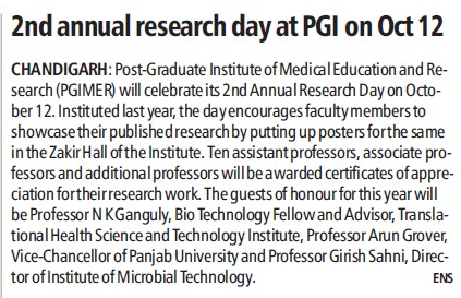 2nd annual research day celebrated (Post-Graduate Institute of Medical Education and Research (PGIMER))