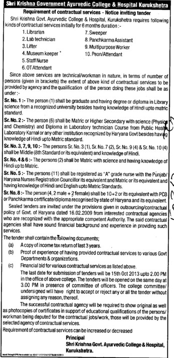 Librarian and Attendant (Shri Krishna Government Ayurvedic College and Hospital)