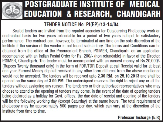 Outsourcing Photocopy work (Post-Graduate Institute of Medical Education and Research (PGIMER))