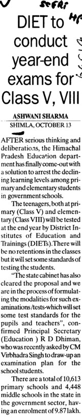 DIET to conduct year end exams for Class V, VIII (SCERT Himachal Pradesh)