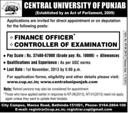 Finance Officer and CoE (Central University of Punjab)