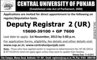 Deputy Registrar (Central University of Punjab)