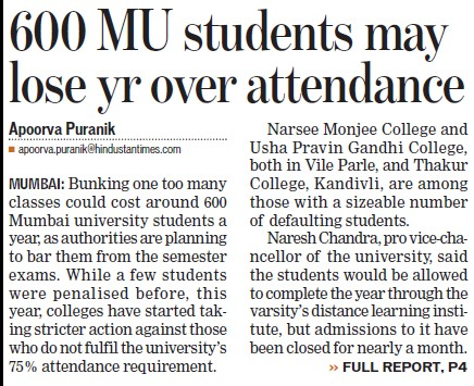 600 MU students may lose yr over attendance (University of Mumbai (UoM))