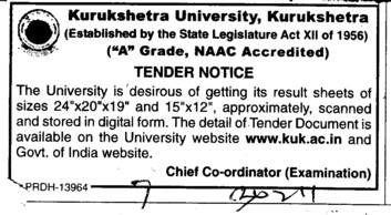 Supply of result sheet (Kurukshetra University)