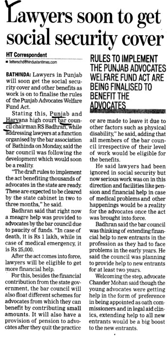 Lawyers soon to get social security cover (Bar Council of Punjab and Haryana)