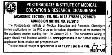 PhD Programme (Post-Graduate Institute of Medical Education and Research (PGIMER))