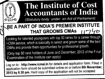 CMAs required (Institute of Cost and Works Accountants of India (ICWAI))