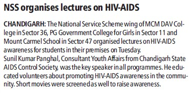NSS organises lectures on HIV AIDS (MCM DAV College for Women)