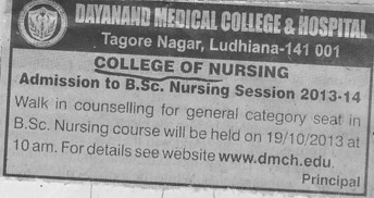 BSc Nursing (Dayanand Medical College and Hospital DMC)