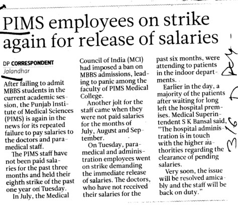 PIMS employees on strike again for release of salaries (Punjab Institute of Medical Sciences (PIMS))