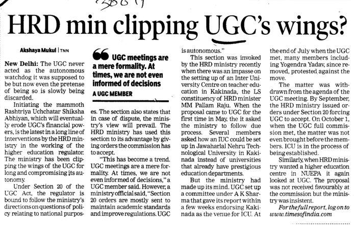HRD min clipping UGCs wings (University Grants Commission (UGC))