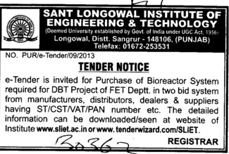 Purchase of Bioreactor system (Sant Longowal Institute of Engineering and Technology SLIET)