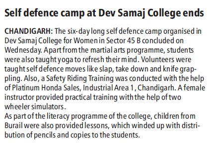 Self defence camp at DSC (Dev Samaj College for Women)