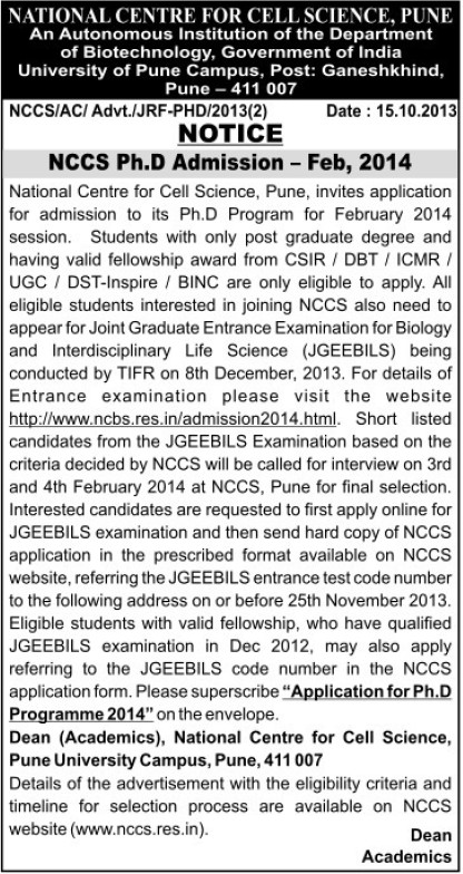 PhD course (National Centre for Cell Sciences)