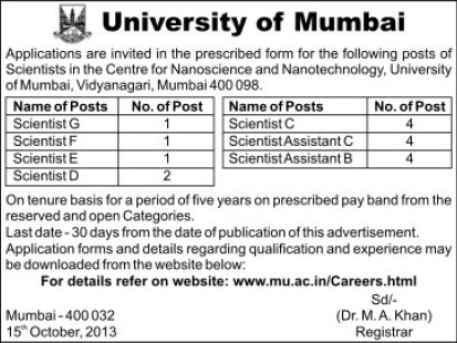 Scientist G, F, E and D (University of Mumbai)