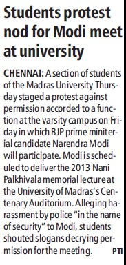 Students protest nod for Modi meet at University (University of Madras)